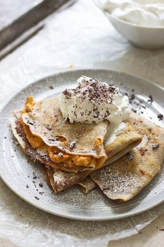Pumpkin and Chocolate Mousse Crepes Really nice recipes. Every #hashtag