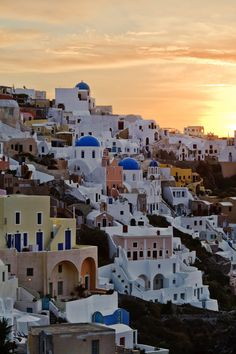 Sunrise over Oia, Santorini, Greece. I've been here and would love to go back Santorini Sunset, Santorini Island, Santorini Greece, Best Hotel Deals, Best Hotels, Beautiful Places To Visit, Oh The Places You'll Go, Stay The Night, Greek Islands