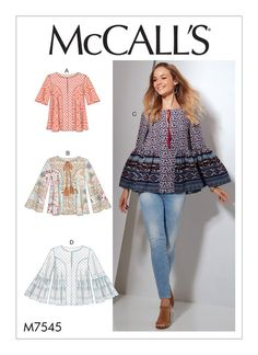 McCall's tops sewing pattern. M7545 Misses' Split-Neck Tops with Flared Sleeves