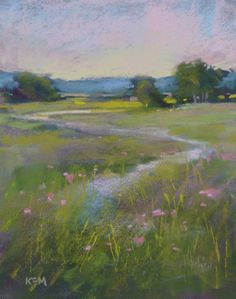 Summer Romantic Landscape with PINK wildflowers Original Pastel Painting 8x10 Karen Margulis