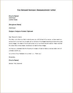 price increase letter send this letter to a client informing him of a price 1826