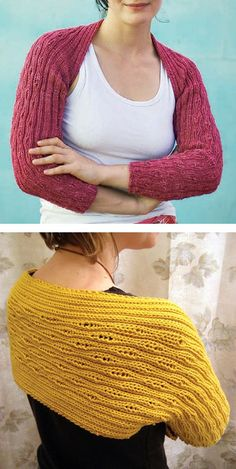 Free Knitting Pattern for Drop Stitch Shrug - This shrug is knit in one piece and then folded and seamed to create the sleeves. Designed by Meema Spadola who said the organic look of the dropped stitch pattern reminded her of flowing water or tree bark. The drop stitch pattern runs vertical on the sleeves and horizontal across the back. Pictured project by jowley