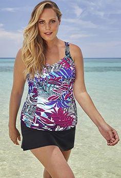 e468de9e6b2 Plus Size - Shore Club Orchard Sweetheart Slit Skirtini Swimsuits For All