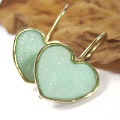 Gold Heart Earrings  dangle hoop Light green by SigalitAlcalai, $50.00