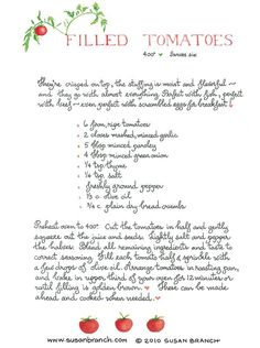 filled-tomatoes recipe illustration page Old Recipes, Vintage Recipes, Cooking Recipes, Cookbook Recipes, Cooking Ideas, Vegetable Dishes, Vegetable Recipes, Vegetarian Recipes, Susan Recipe