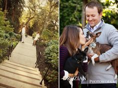 Alyssa and Vince's engagement session with a love sign, maps, and their dogs in Oakland, CA