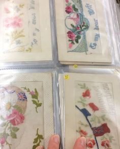 I could have bought them all. 😍 #handmbroidery #embroiderydesign #embroidery #handstitched #handsewn #ww1 #ww1centenary #ww1postcard #embroideredpostcards #vintagecards #embroideredcards #stitch #stitchersofinstagram #embroiderersofinstagram #cottonandsteel #video #belguim #ypres #instacrafts #crafting #meningate
