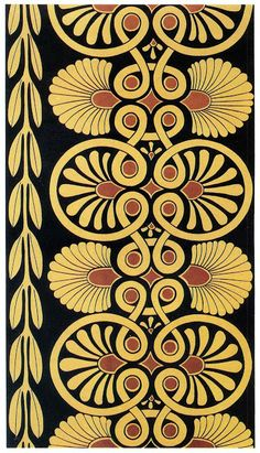 Nineteenth Century Books on Decorative History. Decoration derived from the Acropolis, Athens, drawn by Ernst Butscher. Greek Pattern, Pattern Art, Border Pattern, Textures Patterns, Tile Patterns, Art Deco, Art Nouveau, Border Embroidery Designs, Ancient Greek Art