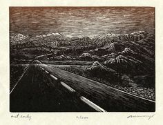 """Original Wood Engraving Out Early Southwest Desert Road. Out Early Wood Engraving 5"""" x 7"""" Sold unmatted, unframed, signed and numbered Block: End-grain maple Ink: Mix of copper and umber/wine (red wine, of course) Paper: Parchment buff Process: Engraving, sketched and cut while sitting at an art-fair. Image: An impending road-trip fills my head with road images. Getting out early is imperative in the heat; by 9:00 am temperatures on the road can reach into the 120's. In the morning, the..."""
