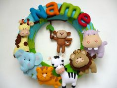 Jungle Name wreath, nursery decor, personalized felt name, baby gift, child room wreath, name wreath, custom felt name, MADE TO ORDER