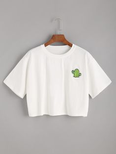 White Cactus Print Crop T-shirt Cute Lazy Outfits, Crop Top Outfits, Kids Outfits Girls, Teenager Outfits, Pretty Outfits, Stylish Outfits, Cool Outfits, Girls Fashion Clothes, Teen Fashion Outfits