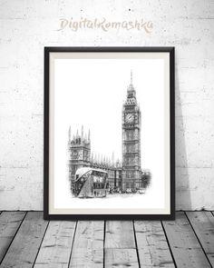London Skyline Pen and Marker Art Architect Gift Architecte