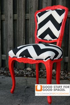 Red Black and White Chevron Louis Chair by Upcycled Home.... love