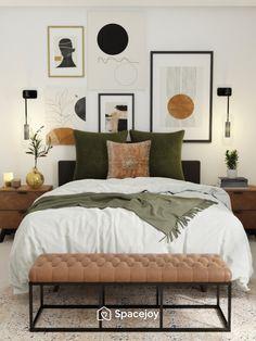 Bedroom Green, Room Ideas Bedroom, Home Decor Bedroom, Cozy Master Bedroom Ideas, Modern Boho Master Bedroom, Green Bedroom Design, Condo Bedroom, Bedroom Colors, Guest Bedrooms