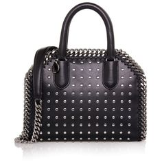 1962dc4c3b Stella McCartney Black Studded Falabella Box Mini Bag ($869) ❤ liked on  Polyvore featuring