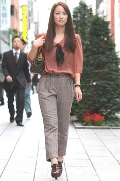 Cute work look - middy blouse w/plaid pants