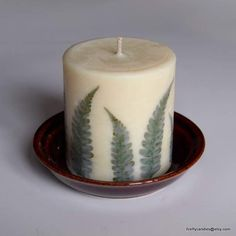 12oz Fern Forest Soy Wax Pillar Candle with by FireflyCandles, $15.00