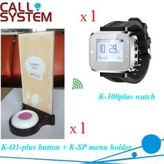 (58.00$)  Buy here - http://aiy8x.worlditems.win/all/product.php?id=32541645518 - Restaurant Wireless Service Caller System 1 wrist watch 1 button 1 food menu stand