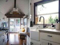 Living room and kitchen with farm sink - Northwest Haven by Tiny Heirloom Tiny Houses For Sale, Little Houses, Tiny House On Wheels, Small House Plans, Small Open Kitchens, Apartment Size Refrigerator, Open Kitchen And Living Room, Dining Room, Ideas Vintage