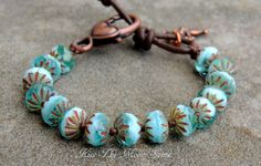 Knotted Czech Glass Bracelet in Two Tone Blue