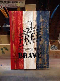 Custom handmade wood pallet sign by WoodenSol on Etsy crafts christmas crafts diy crafts hobbies crafts ideas crafts to sell crafts wooden signs Wood Pallet Signs, Pallet Art, Wooden Pallets, Wood Signs, Painted Pallets, Pallet Flag, Wood Flag, Pallet Crafts, Diy Pallet Projects