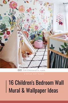 If you are thinking of decorating your child's bedroom, wall murals are a great idea. This article contains 16 of our favourite children's bedroom wall mural & wallpaper ideas to make your child's room more exciting and fun! | Limitless Walls - Premium Wall Murals Nursery Room, Girl Nursery, Kids Bedroom Wallpaper, Wallpaper Murals, Wallpaper Ideas, Wall Murals, Diy Kids Furniture, Fantasy Bedroom, Kids Bedroom Designs