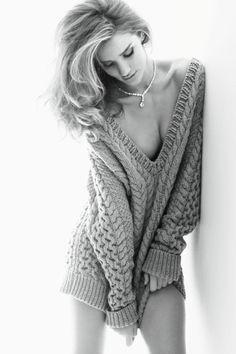 Rosie Huntington-Whiteley: Vogue Germany, November '11. Black and white, model, fashion photography.