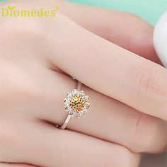 Rings Diomedes Gussy Life Wholesale Presente Popular Newcomers silver rings daisy small open for women jewelry gift Dec627
