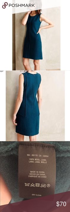 """Anthropologie {sparrow} 100% wool shift dress GORGEOUS and perfect for fall and winter with a little layering! NWT, teal in color. Front side pockets and zipper in back. 100% wool. Size L. Measurements are: bust 19.5"""", waist 18"""", length from armpit 26"""" in front, 28"""" in back. Size M. Measurements are: bust 18"""", waist 17"""", length from armpit 26"""". 28"""" in back. What a great staple piece to add to your wardrobe! Anthropologie Dresses Midi"""
