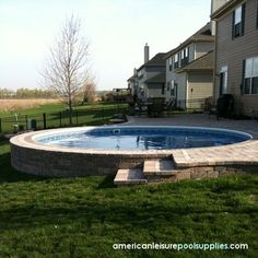 Discover 27 semi inground pool ideas for your inspiration. Browse photos of semi inground pools with deck. A collection of semi inground pool landscape ideas. Above Ground Pool Landscaping, Backyard Pool Landscaping, Landscaping Ideas, Landscaping Plants, Living Pool, Outdoor Living, Jacuzzi, Leisure Pools, Gardens