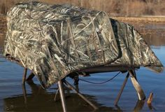 """Hunt anywhere from dry ground to water depths of 30"""" hidden in the MOmarsh InvisiMAN Blind. With its light weight and small profile, this blind goes with you deep into walk-in areas where it blends in with little effort. Wt: 23 lbs. Wt. capacity: 300 lbs. Camo pattern: Realtree MAX-5®."""
