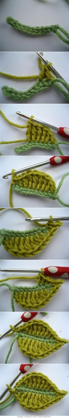 "Crochet Tutorial ♡ ""Clear pictures and text. I especially love the contrasting colored leaf vein. Spring is a great time to crochet some leaves!"" comment via Knitting Guru Crochet Diy, Crochet Amigurumi, Love Crochet, Irish Crochet, Crochet Crafts, Yarn Crafts, Crochet Projects, Crochet Tutorials, Doilies Crafts"