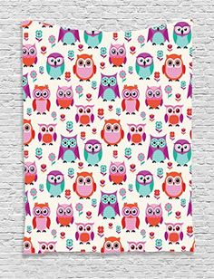 Owl Tapestry Home Decor by Ambesonne, Owls Happy Childhood Hipster Modern Style Repeated Animals Theme Pattern, Bedroom Living Room Dorm Wall Hanging Tapestry, Orange Purple Dark Cyan