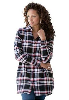 7254302bb800c Roamans Plus Size Flannel Plaid Bigshirt