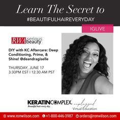 Virtual Edu! Get inspired with #KeratinComplex and learn how to get stronger, smoother + healthier hair! Tune in to @keratincomplex IGLive and hear from the experts. DIY with KC Aftercare: Deep Conditioning, Prime, & Shine! @deandragiselle THURSDAY, JUNE 17 3:30PM EST | 12:30 AM PST . . #keratincomplex #beautifulhaireveryday #kcunplugged #frizzfree #healthyhair Keratin Complex, Healthier Hair, Free Education, Deep Conditioning, Diy Beauty, Thursday, June, Conditioner, How To Get