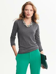 neutral top-- bright pants-- chunky jewelry