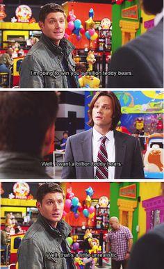 I will win you a million teddy bears. Sam: Well, I want a billion teddy bears.