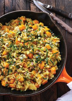 Orzo and Butternut Squash Skillet with Kale and Blue Cheese — Dress up a simple chicken or fish entree with this tasty side dish. This recipe is so quick and simple, the whole family will love it!