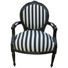 French Louis XVI Medallion Style Black& White Armchair- Affordable Luxury!
