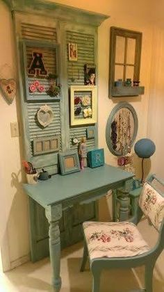 Vintage Shutters and Table to Hold Pictures
