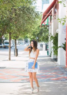 tobi floral skirt, rebecca minkoff leo clutch, shoedazzle heels, missguided halter crop top, ombre hair, statement necklace