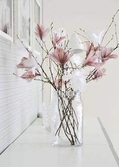 Pale pink and white flowering branches for spring