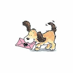 New Penny Black LOVE NOTE Dog Puppy Rubber Stamps Letter Mail Heart Valentine's