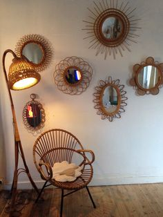 Mirrors – Home Decor : Accumulation Miroirs -Read More – Decor Interior Design, Interior Decorating, Wall Decor, Room Decor, Rattan Furniture, Rattan Armchair, Elegant Homes, Home Decor Inspiration, Sweet Home