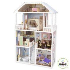 KidKraft Puppenhaus Savannah Riesiges Puppenhaus im Landhausstil für Ankleidepuppen bis 30 cm. Ein 14 teiliges Set an Puppenmöbeln ist bereits mit enthalten.