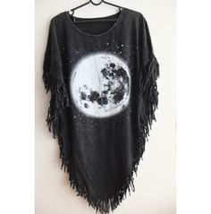 Moon Fashion Punk Hippie Batwing Tussle Fringes Stone Wash Poncho