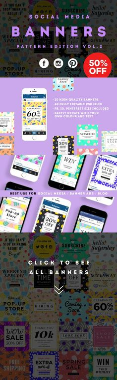 Social Media Pattern Banners Vol.2