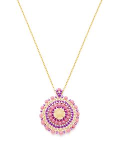 Miguel Ases  Multicolor Round Pendant Necklace