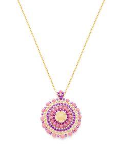 Miguel Ases  Multicolor Round Pendant Necklace