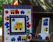 Infant Baby Heirloom Nursery Crib Quilt and Bumper, Cars Trucks and Bikes, Primary Colors, 40x32 inches